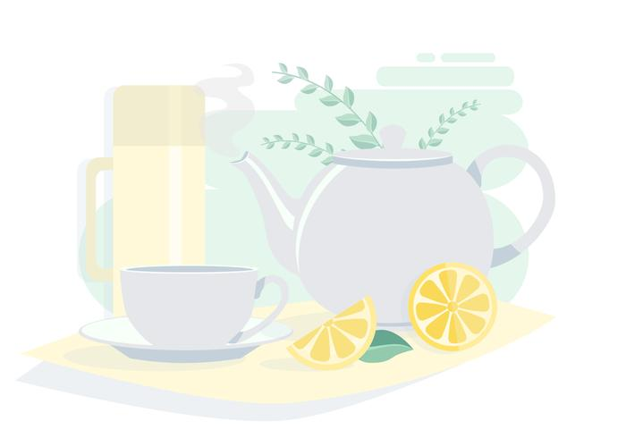 Vector Teapot on a Table Illustration