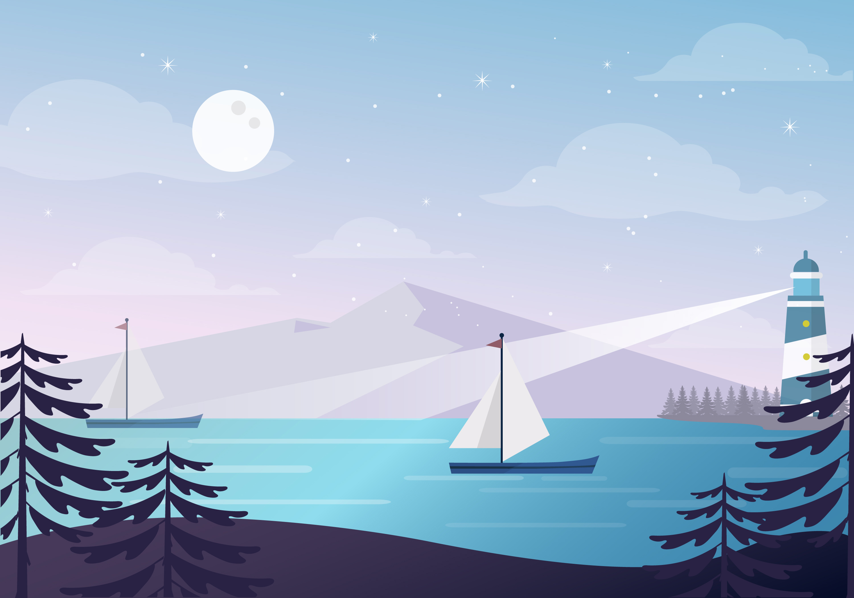 Landscape Illustration Vector Free: Beautiful Spring Vector Landscape Illustration