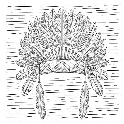 Hand Drawn Vector Indian Hat Illustration