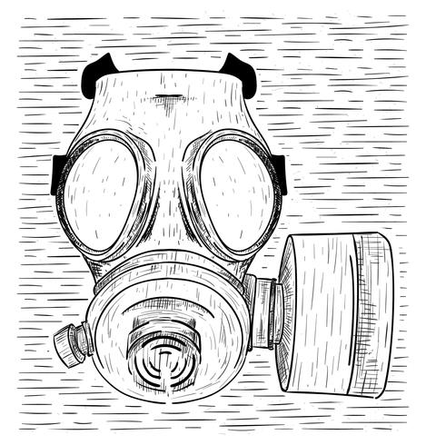 Illustration de masque à gaz vecteur dessiné à la main