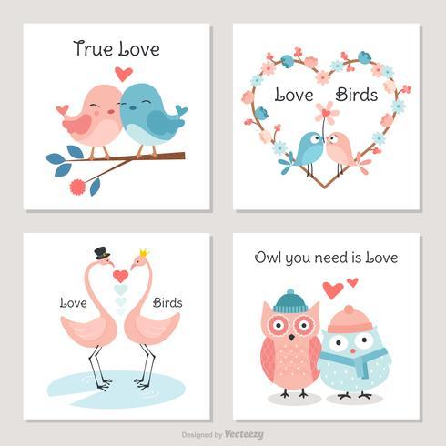 Oiseaux mignons en cartes de vecteur d'amour