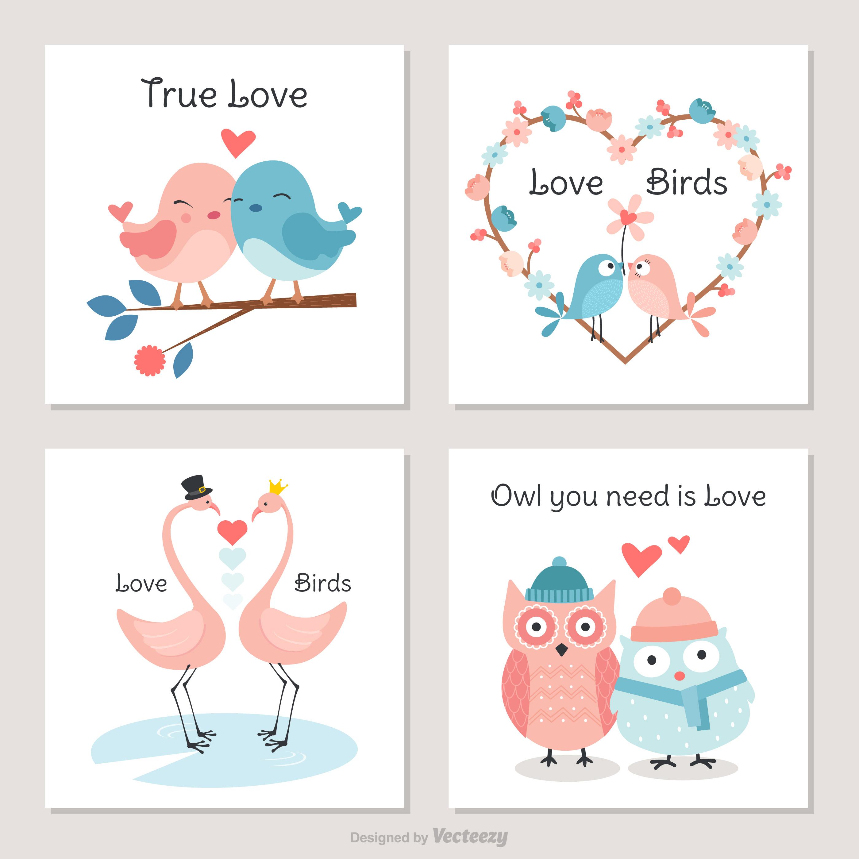 Cute Birds In Love Vector Cards - Download Free Vector Art ...