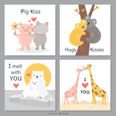 Funny And Cute Creatures In Love Cards Vector