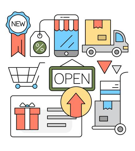 Linjär Online Shopping Vektor Illustration