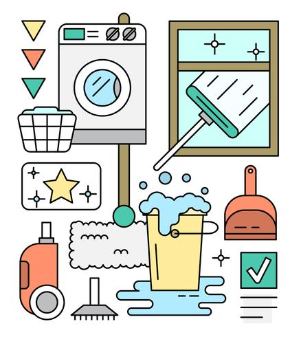 Linear Icons About Cleaning