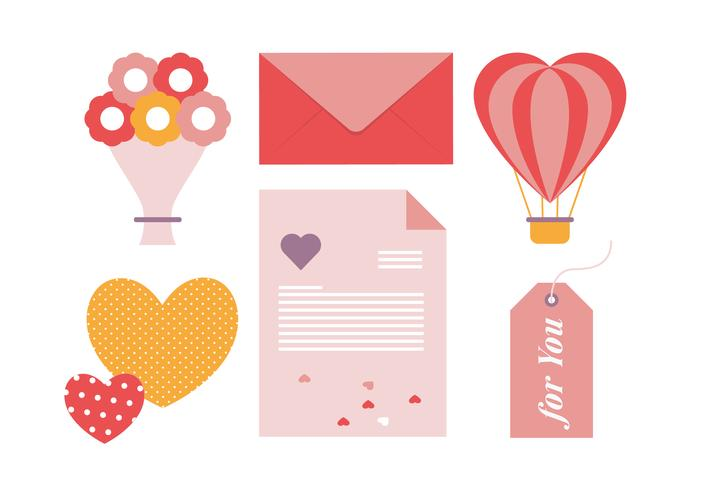 Valentine's Day Vector Greeting Card Elements Illustration