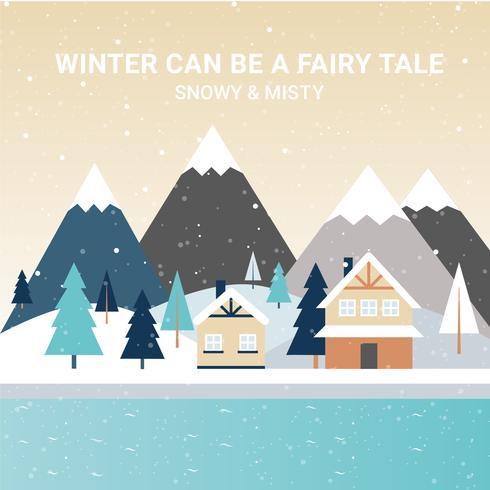 Beautiful Winter Landscape Vector Illustration