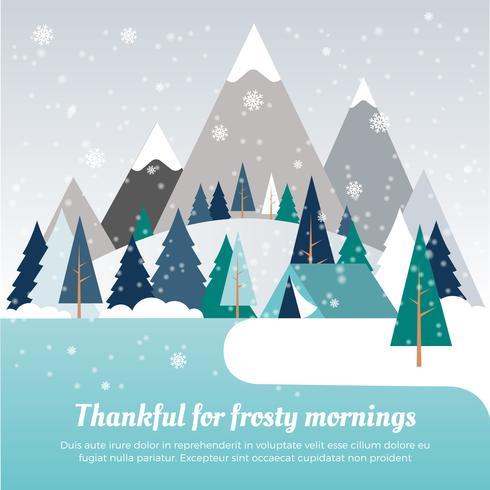Vacker Vinterlandskap Vektorillustration