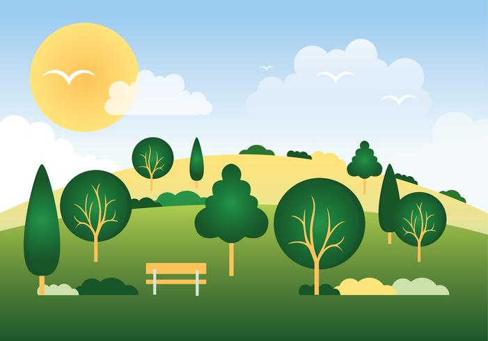Beautiful Spring Vector Landscape Illustration