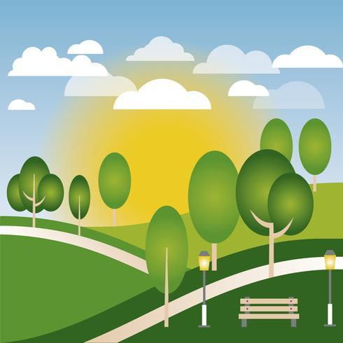 Beautiful Spring Vector Landscape Illustration