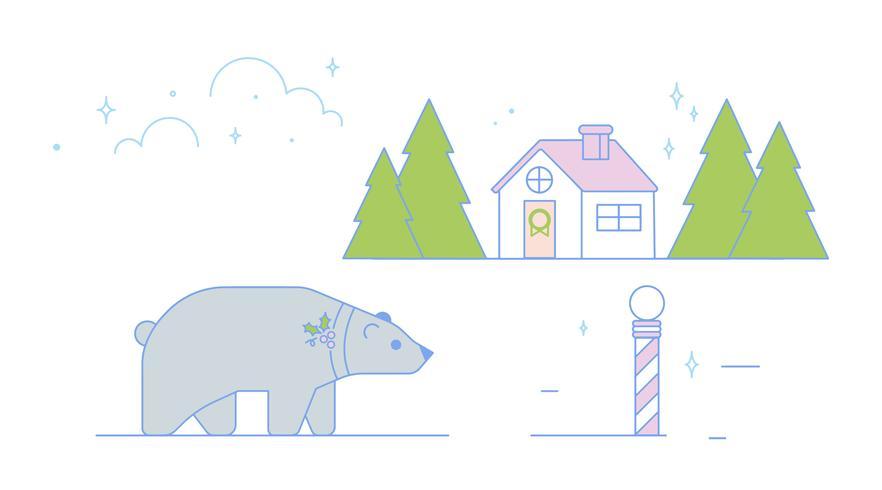 Polar Bear Christmas Vector