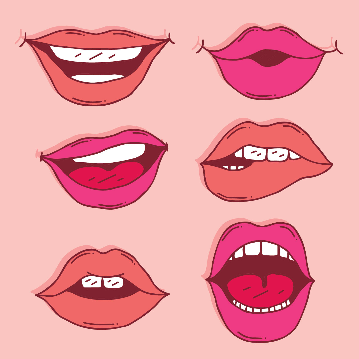 hand drawn lips collection vector download free vector
