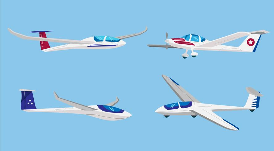 Glider Airplane Vector Flat Illustration