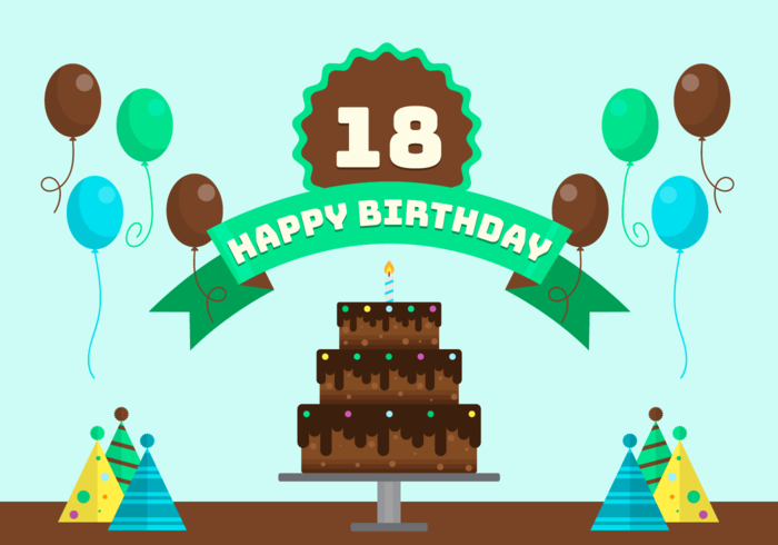 18 Years Birthday Party Vector Illustration