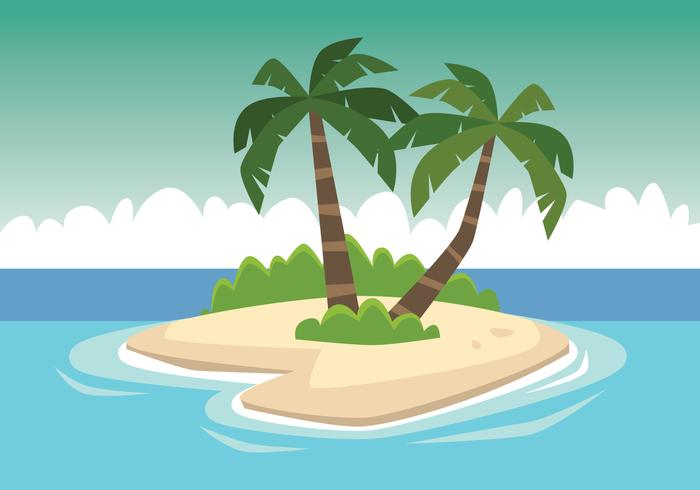Cocotero en isla pequeña