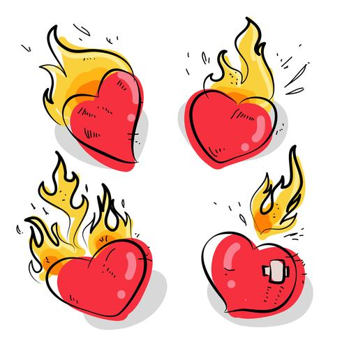 Flaming Heart Tattoo Hand Drawn Vector illustration