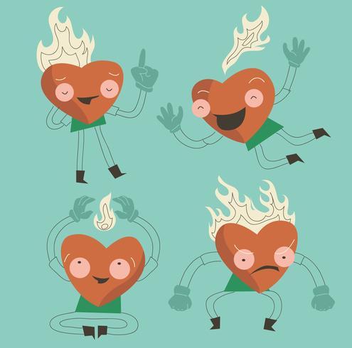Illustrazione piana di vettore del carattere ardente divertente del cuore