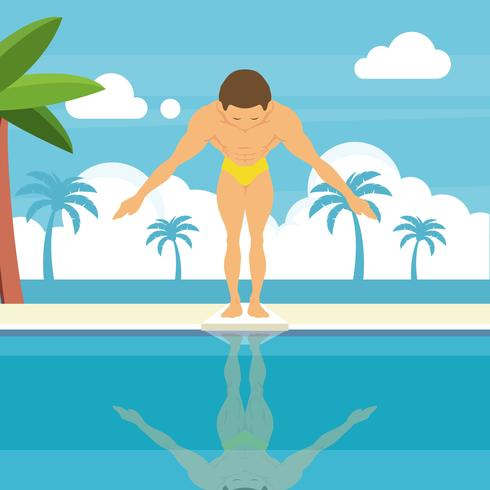 Swimmer on Springboard Illustration