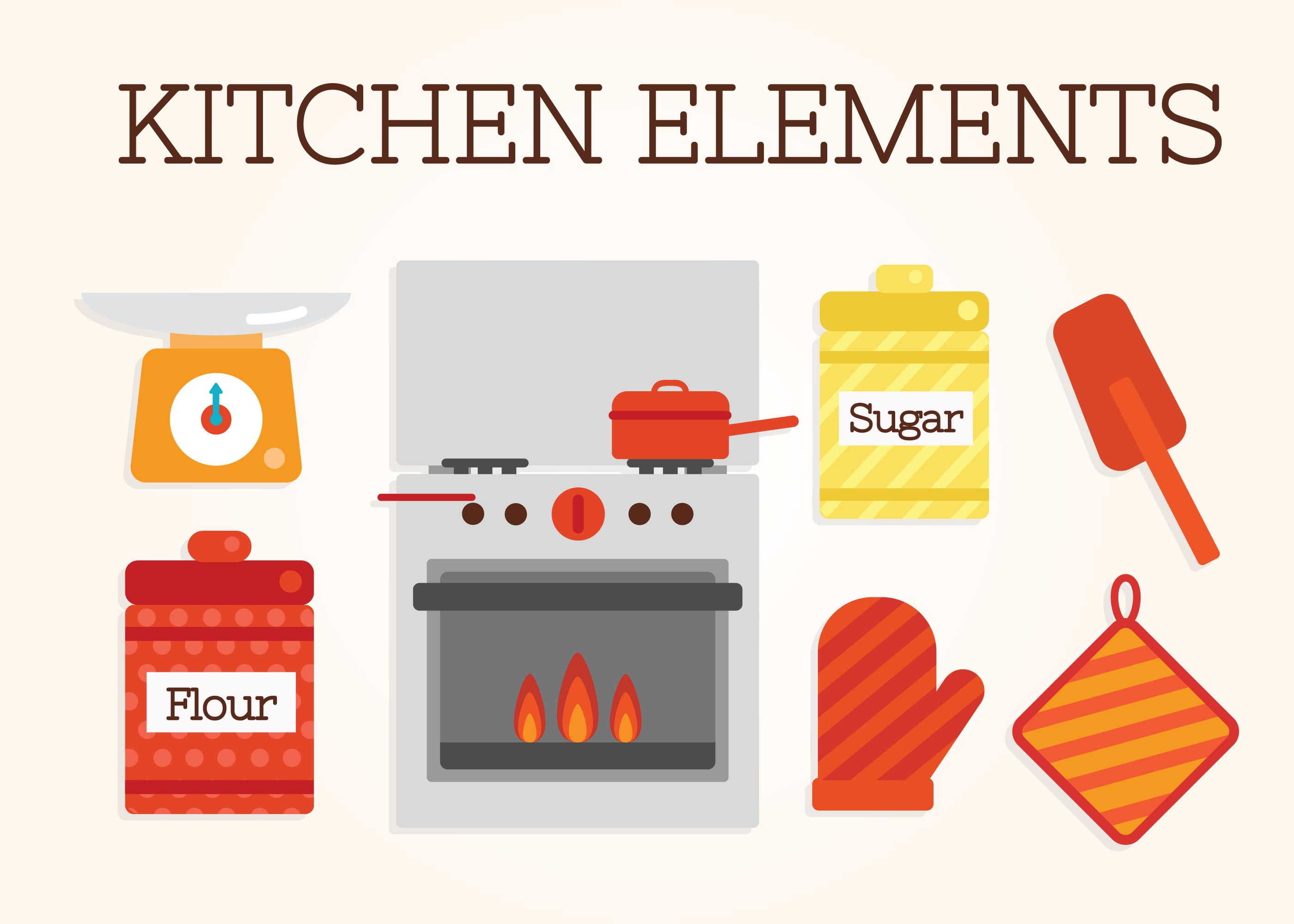 Vetor de elementos de cozinha download vetores e for Elementos de cocina para chef