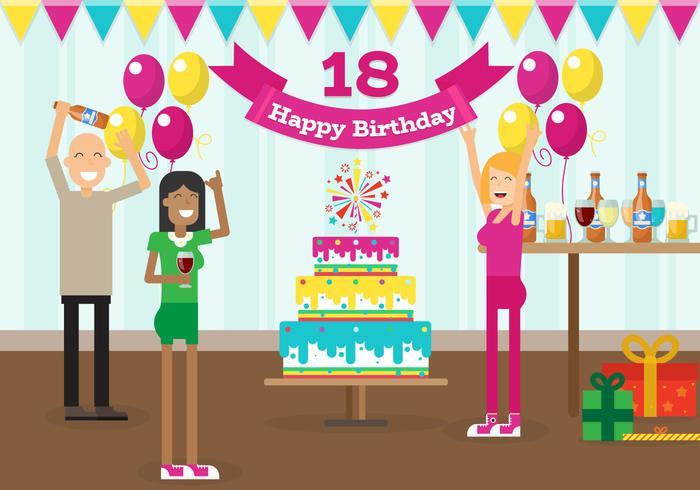 Mi fiesta de cumpleaños de 18 años con amigos ilustración vectorial gratis