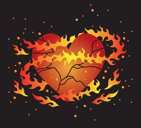 Flaming Broken Heart Vector