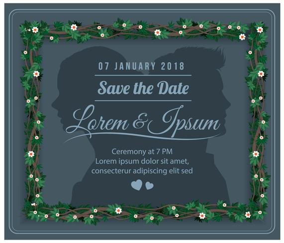 Wedding Save The Date Floral Vector