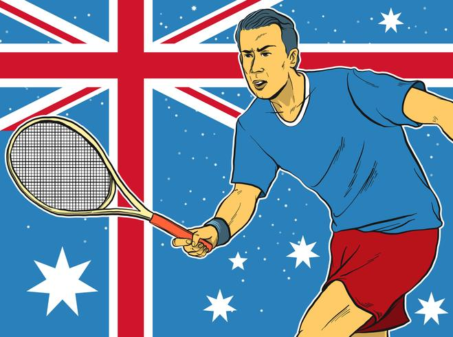 Tennis Athlete In Front Of The Australian Flag Illustration