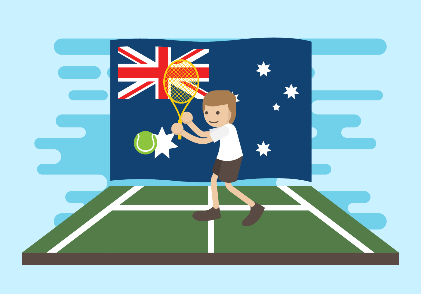 Free Australian Tennis Vector Illustration Download Free