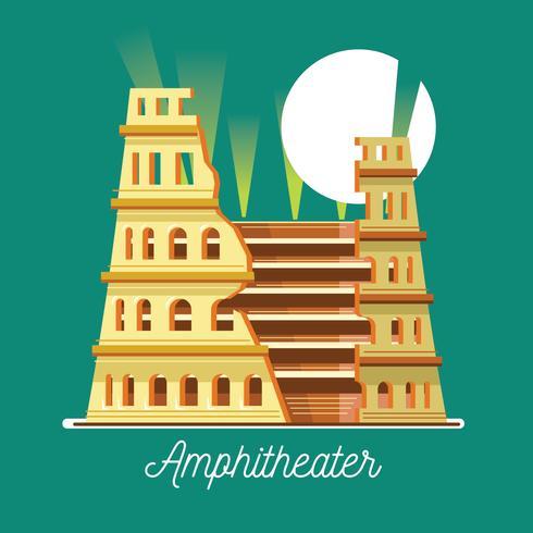 Vektor illustration av amfiteatern i platt stil