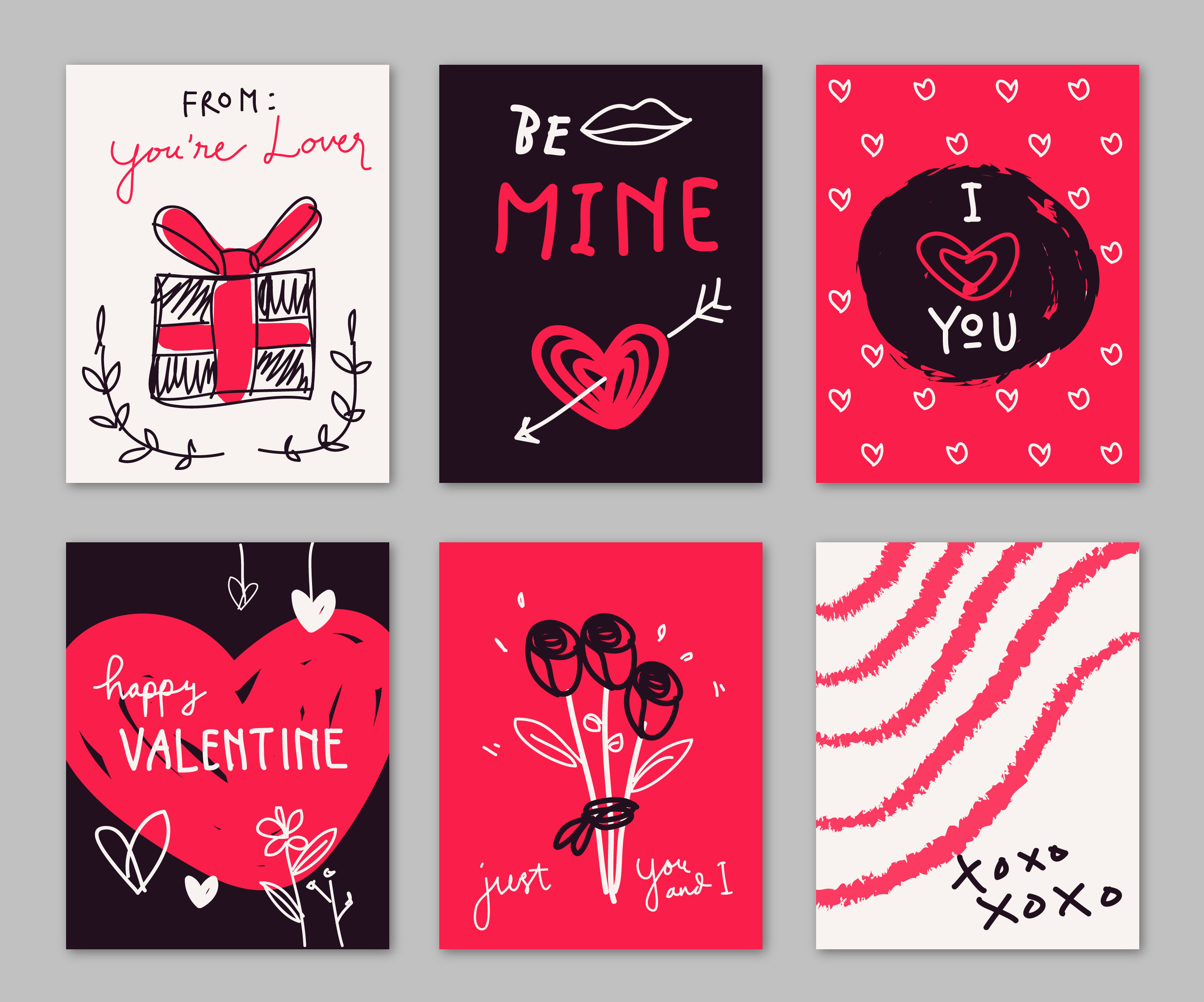 red and black valentine card doodle hand drawn collection