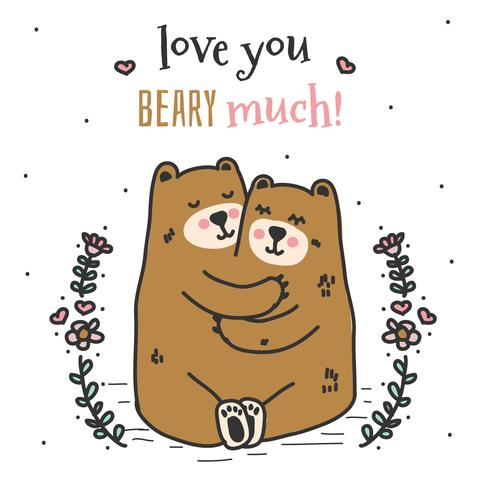 Love You Beary Much Vector