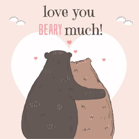 Bear Valentine Card Vector