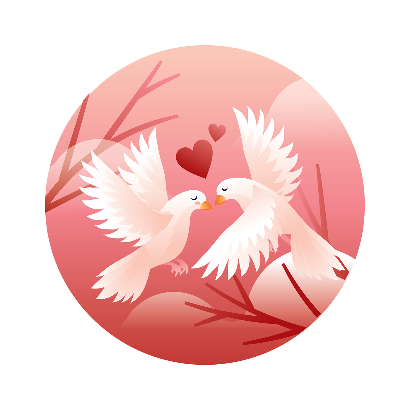 Dove Couple In Love Vector - Download Free Vector Art, Stock ...