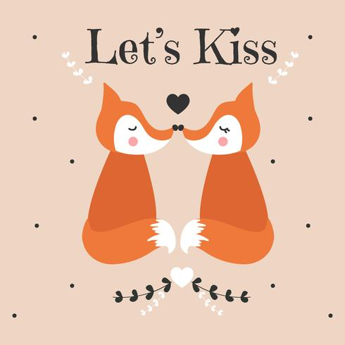 Let's Kiss Valentine Card Vector