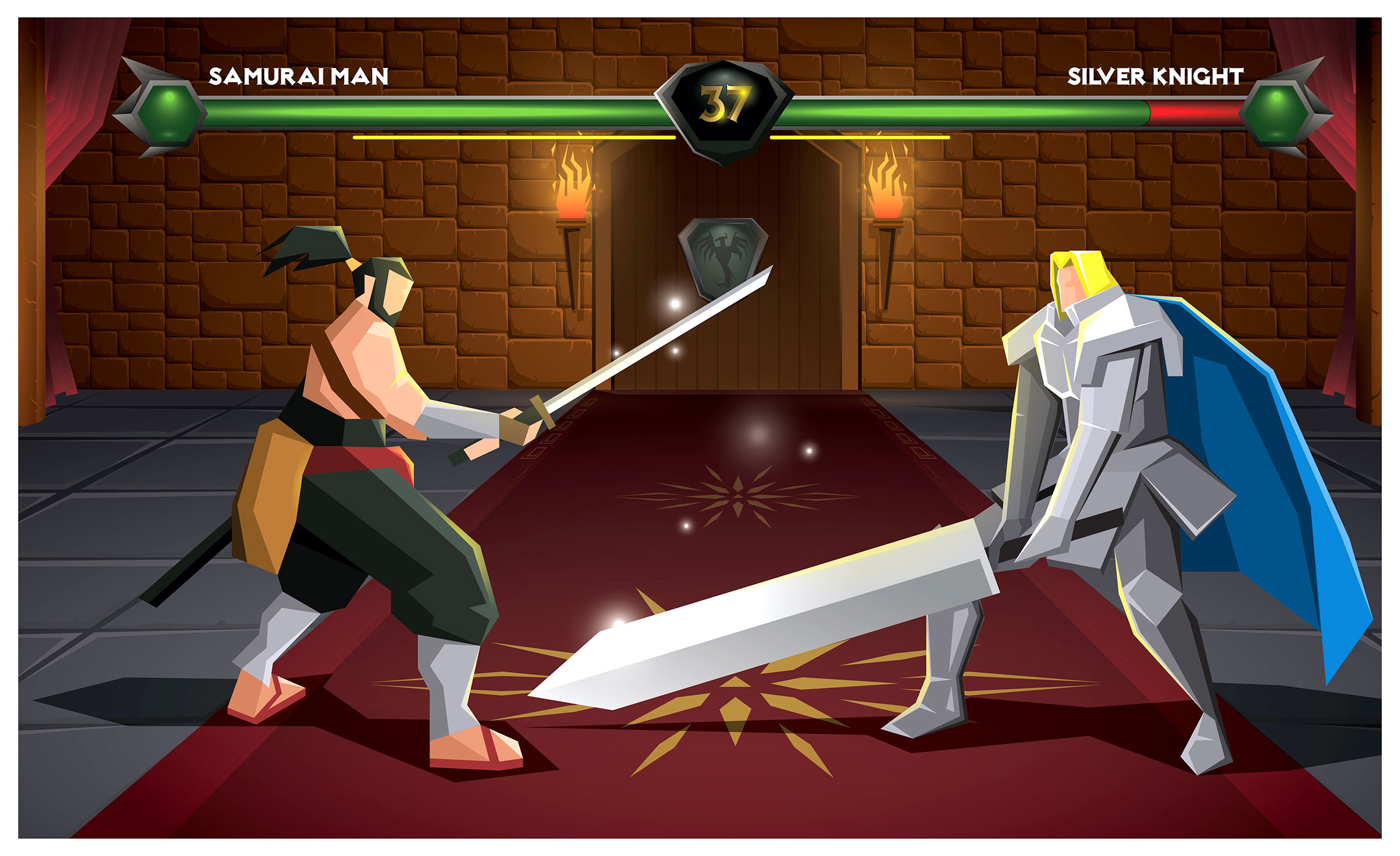 Samurai Man And A Knight Battle Vector Download Free