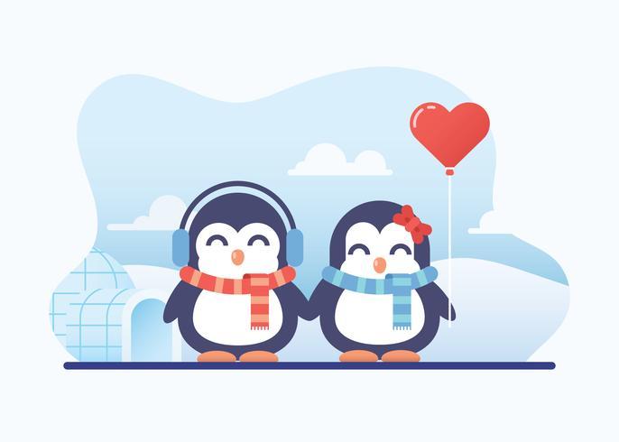 Couple mignon pingouin en amour