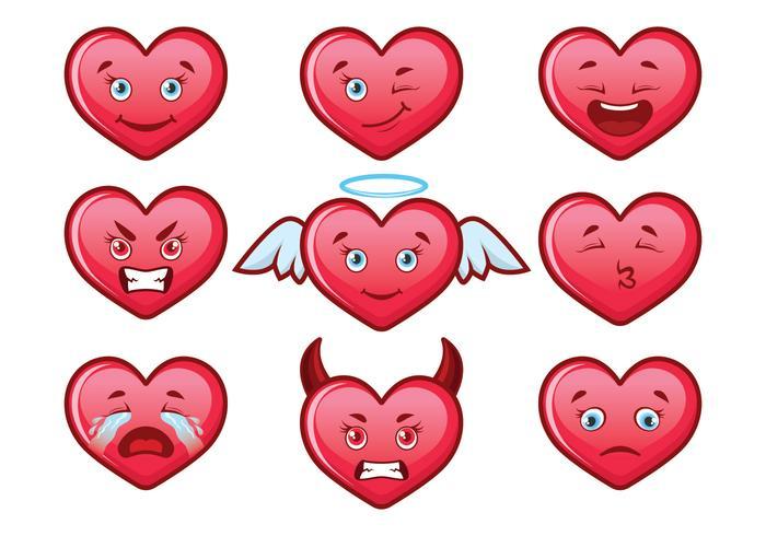 Söt hjärta Valentine Emoji Set
