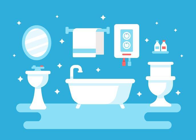 Banheiro Com Vetor De Aquecedor De Água