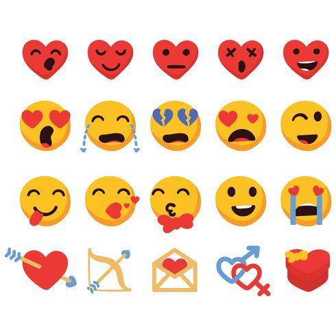 Valentinstag Emoji-Set vektor