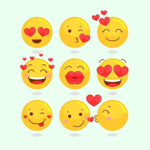 Valentin Emoji Set vektor