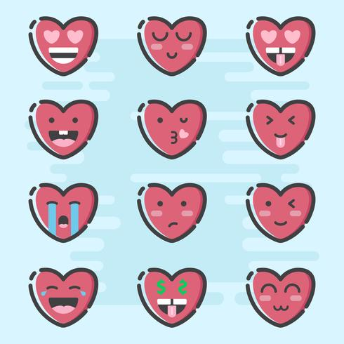 Valentine Day Emoticon Vector