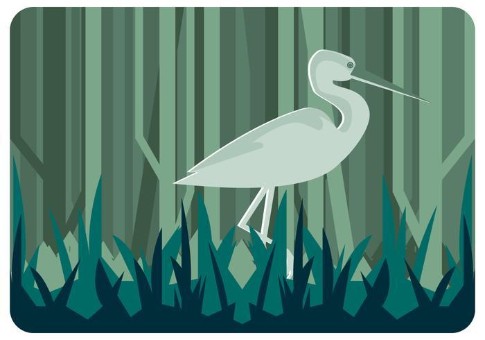 Heron på Marsh Vector