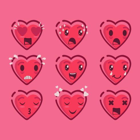 Cute Valentine Emoji van harten Vector