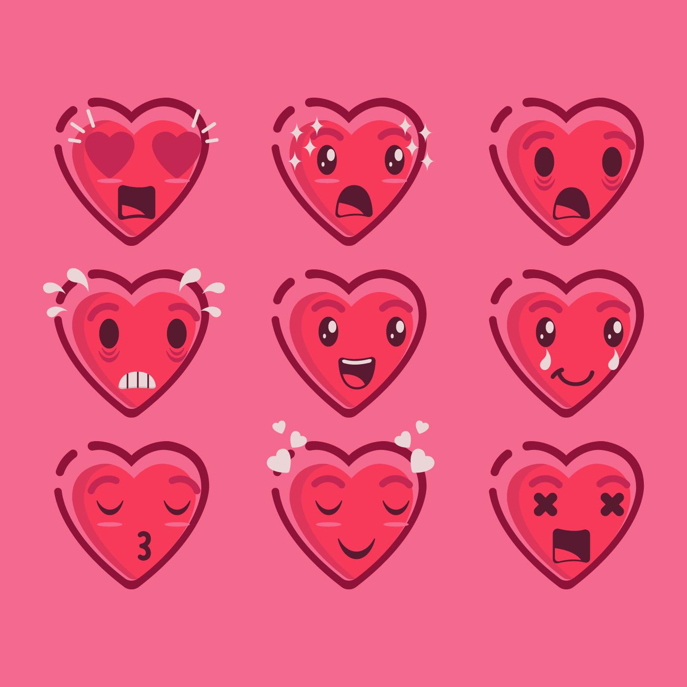 Cute Valentine Emoji Of Hearts Vector - Download Free ...