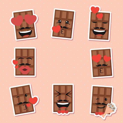 Conjunto de emoticonos de chocolate día de San Valentín