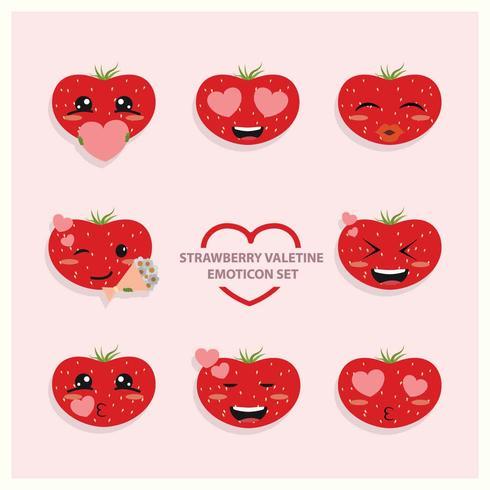 Aardbei Valentine Emoji Icon Set