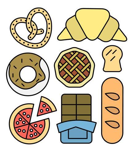 iconos lineales de panadería