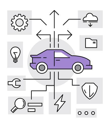 Auto technologie pictogrammen
