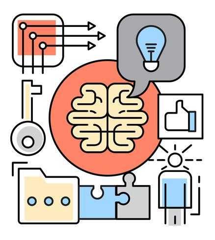 Illustrazione lineare di brainstorming