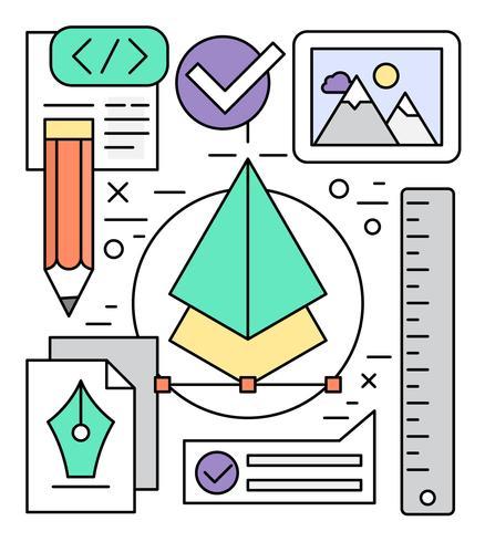 Linjära grafiska designerelement